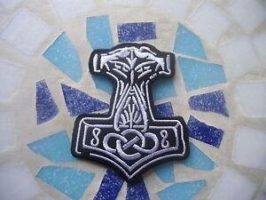AUFNÄHER PATCH Thors Hammer Mjölnir Pagan Viking Metal Biker MC Rocker Aufbügler