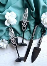 Black wedding champagne glasses and cake server set Toasting flutes Cake knife