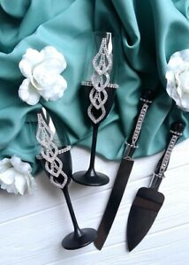 Black wedding champagne glasses and cake server set Toasting flutes Cake knife