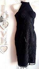 LIPSY SZ 10 CLASSY BLACK LACE HALTERNECK DRESS BNWT NEW IN STYLE RRP £65