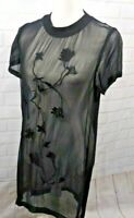 All Saints Womens Size 2 Tunic Top Nathalia Embroidered Floral Black Sheer Knit