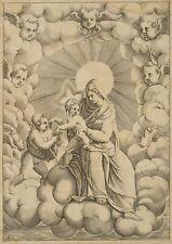 A.Carracci (*1557) Umkreis, Madonna mit Kind und Johannes, 17. Jhd, Kupferstich