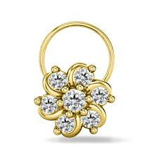 Ladies Wedding & Engagement Flower Shape D/VVS1 Diamond Piercing Stud Nose Pin