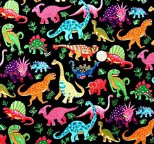 Dinosaur dance on black Multi Fabric 21cm x 112cm Nutex 87550-1 100% cotton
