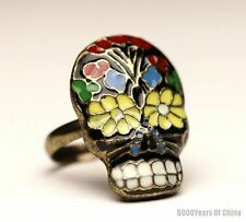 #6 Beautiful Chinese Colorful Cloisonne Skull Adjustable Ring