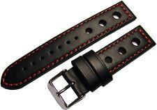 HEKTOR Rallye Uhrenarmband Leder schwarz Naht rot Dornschließe poliert 20mm