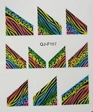Accessoire ongles : nail art - Stickers décalcomanie, tigré et zebré multicolore