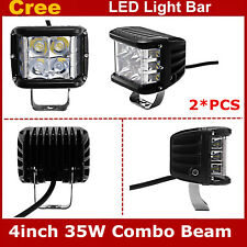 """2PCS 4""""inch 35W Side Shooter Cube Pods Combo CREE LED Work Light Offroad Lamp"""