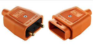 2 Pin In-Line Rubber Connector 10A Orange Lawnmower Strimmer Garden Power Tools