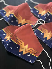 Young Adult Wonder Woman Washable Face Mask, Made USA, three layers,Wonder Woman