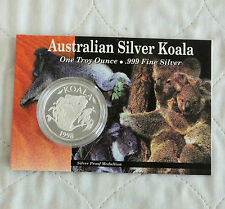 AUSTRALIA 1998 KOALA 1oz  .999 FINE SILVER PROOF MEDAL - downie's pack