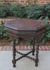 Antique French Oak Octagonal Renaissance Barley Twist Hall Entry Center Table
