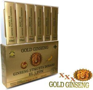 GOLD GINSENG LIQUID ETIQUETA DORADO EL LEON XXX 10ml x 6 BOTTLE