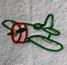 Aeroplane machine embroidered face washer novelty gift. Flannel, baby unisex