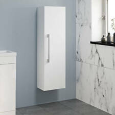 1200mm Tall Bathroom Wall Hung Storage Cabinet Cupboard Modern Soft Close White