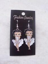 brand new enameled WHITE dress silver plated betty boop earrings