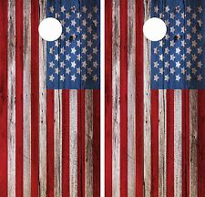 Wood American Flag Cornhole Board Game Decal Wraps USA High Quality Image bag 3M