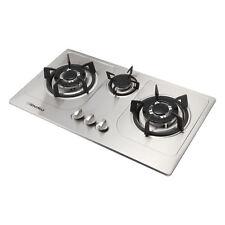 72cm Cooktops Built-in 3 Burner Stainless Steel Hob Wok Nat Gas/LPG Cooker Top