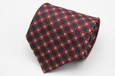 STEFANO RICCI Silk Tie. Black w Red & White Neat Square Geometric. Made in Italy