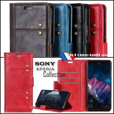Etui coque housse Rivet Cuir PU Leather Stand Wallet Case Cover Sony Xperia XZ3