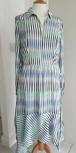 IRIS & INK - BLUE STRIPED ASYMMETRIC CREPE SHIRT DRESS - UK12 - BNWT!