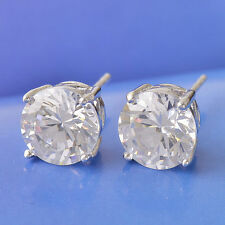 Pretty New 9k White Gold Filled 4 Prong 6mm Clear Round CZ Stud Post Earrings