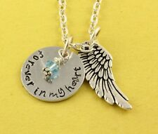 Forever In My Heart Birthstone Angel Wing Remembrance Necklace Memorial Jewelry