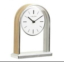 Silver Finish Quartz Battery Mantle Clock & Wooden Centre 0314