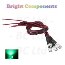 5 x Pre-Wired Green LED 5mm Flat Top : 9V ~ 12V : 1st CLASS POST