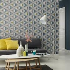 Grey Teal Olive 3d Wallpaper Retro Abstract Embossed Flower Graphic Geometric