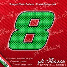 Adesivo Stickers NUMERO 8 moto auto cross gara Carbon Effect Green 10 cm