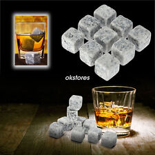 9 Pcs Whisky Ice Stones Wine Drinks Cooler Cubes Whiskey Rocks Granite Pouch WL9