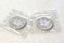 1989 Canadian Maple Leaf Silver Bullion Coin,2 Troy Ounce. TWO COINS 5 Dollar