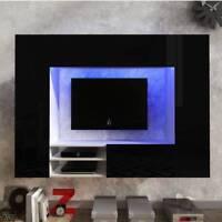 Living room furniture set hanging unit floating Tv cabinet black LED light