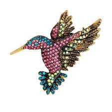Rhinestone Multi-Color Hummingbirds Bouquet Jewelry Brooch Pin Charm Women
