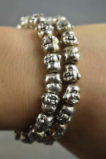 Collectable Decorative Handwork Miao Silver Carve Smile Buddha Exorcism Bracelet