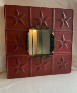 Rustic Decorative Wall Mirror, Red. Accent Mirror With Stars, Rustic.