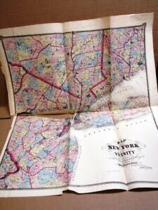 1867 NEW YORK CITY  AND VACINITY BEERS ATLAS LARGE ONION SKIN MAP