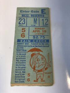 New York Mets Baseball Ticket Stub 4/19/1970 vs Phillies - Clendenon HR