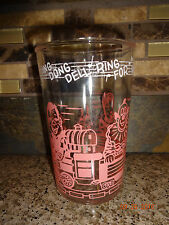"""Vintage Welch's 4"""" Cup Clear Glass Pink Print Girl/Train/Clown/House/TP's"""