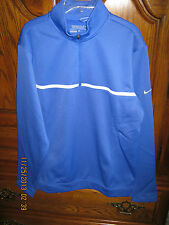 NWT Men's Nike Blue Polyester 1/4 Zip Long Sleeve Solid Golf Pullover Size S
