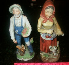 Homco Figures 1409 Man Woman 1417 Farmer Jones Wife Porcelain Vintage