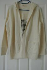 Hollister Hooded Open Sweater - Sz. L - White - Heart Print