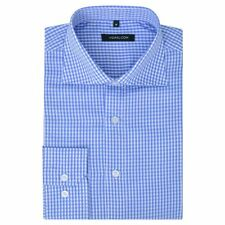 vidaXL Men's Business Shirt Work Social Formal White Light Blue Check Size XL