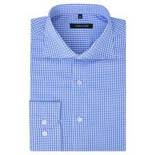vidaXL Men's Business Shirt Work Social Formal White Light Blue Check Size XXL
