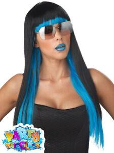 Ladies Blue Black Long Straight Diva Glam Wig Lady Gaga Fancy Dress Accessory