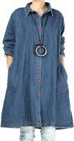 Lavnis Women's Denim Shirt Jacket Plus Size Button Down Jeans Dress Long Sleeve