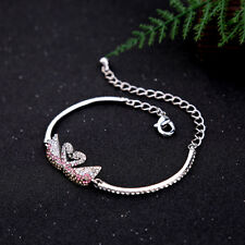 Crystal Glass Double Pink Swan Silver Tone Cuff Bracelet Bangle Chain