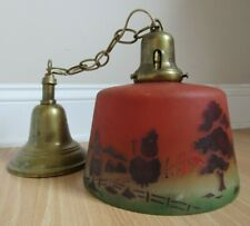 ANTIQUE PENDANT LAMP ceiling hanging light FIXTURE painted reverse country scene