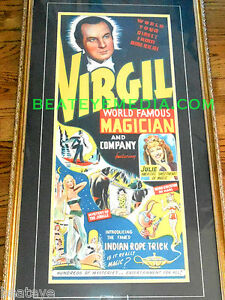 MAGIC SHOW POSTER VINTAGE-HOUDINI,MOVIE POSTERS,CIRCUS,ILLUSION,SIDE SHOW,FREAK